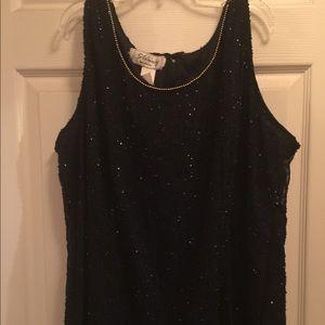 Tops - Women's Sequins Black & Gold Tank